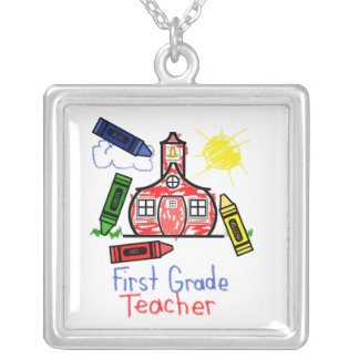 First Grade Teacher Necklace - Crayon Drawing