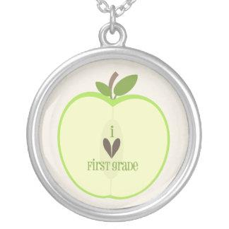 First Grade Teacher Necklace - Green Apple Half