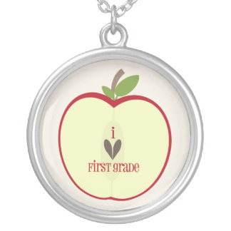 First Grade Teacher Necklace - Red Apple Half
