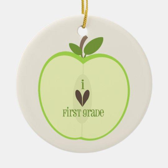 First Grade Teacher Ornament - Green Apple Half