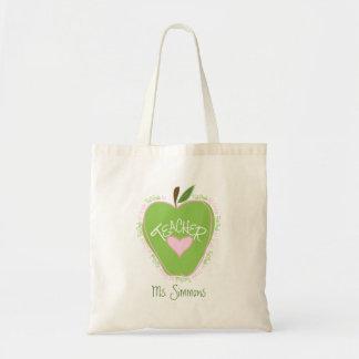 First Grade Teacher Pink and Green Apple Canvas Bags