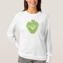 First Grade Teacher Pink and Green Apple T-Shirt