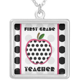 First Grade Teacher Polka Dot Apple Pendants