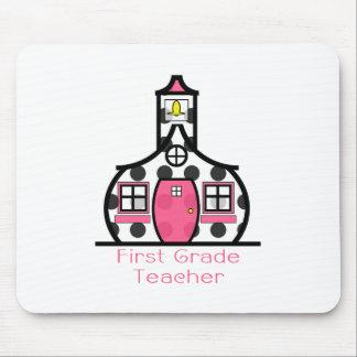 First Grade Teacher Polka Dot Schoolhouse Mouse Pad