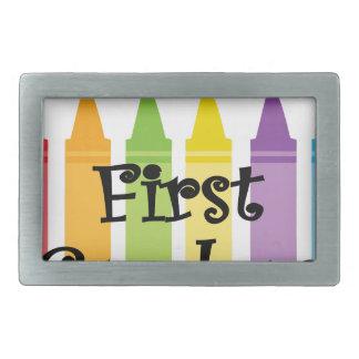 first grade teacher rectangular belt buckle