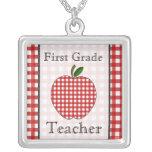 First Grade Teacher Red Gingham Apple Necklace