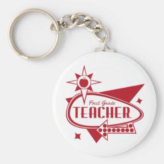 First Grade Teacher Retro Red 60's Inspired Sign Keychain