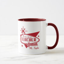 First Grade Teacher - Retro Red 60's Inspired Sign Mug