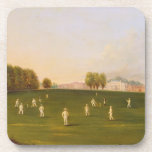 "First Grand Match of cricket played by members of Coaster<br><div class=""desc"">Image:227004  First Grand Match of cricket played by members of the Royal Amateur Society on Hampton Court Green,  3rd August 1836,  1836 (oil on canvas). English School,  (19th century). Yale Center for British Art,  Paul Mellon Collection,  USA.  Art,  Fine Art.</div>"