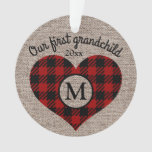 First Grandchild Red Black Buffalo Plaid Monogram Custom Photo Ornament (with heart)