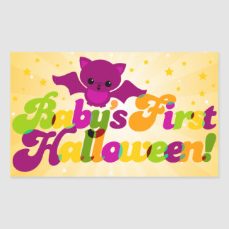 First Halloween - Baby Bat Rectangular Sticker