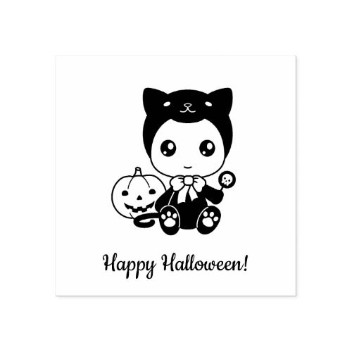 First Halloween Baby Black Cat Costume Rubber Stamp