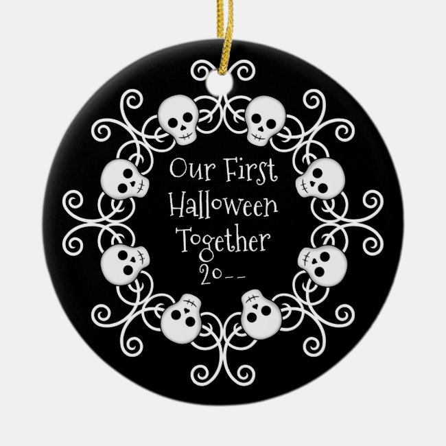 First Halloween together skull wreath Ceramic Ornament