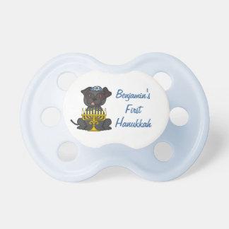 First Hanukkah+Baby Name-Cute Pug with Menorah Pacifier