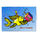 First Hanukkah CARD funny cute fish with dreidel