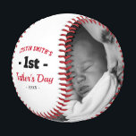 """First Happy Father's Day Photo Baseball<br><div class=""""desc"""">First fathers day baseball gift featuring the dads name,  the text """"1st fathers day"""",  your childs name,  and date of birth. Plus 2 family photos for you to customize with your own to make this an extra special fathers gift.</div>"""