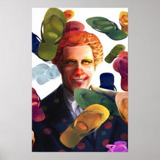 First he Flips then he Flops Mitt Romney Satire Poster