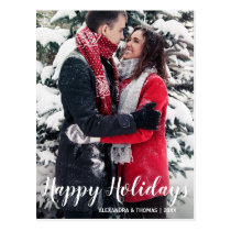 First Holiday Xmas Married Engaged White | PHOTO Postcard