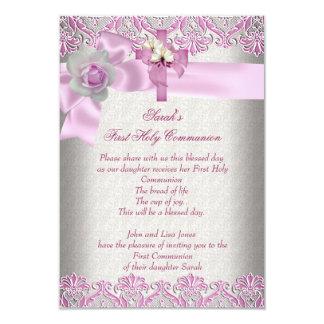 First Holy Communion 1st Cross Girls Cream Pink 3.5x5 Paper Invitation Card