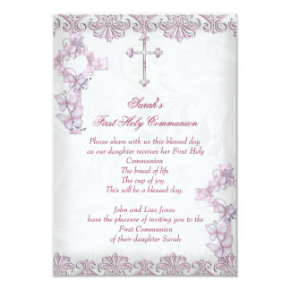 First Holy Communion 1st Cross Girls Damask Pink 3.5x5 Paper Invitation Card