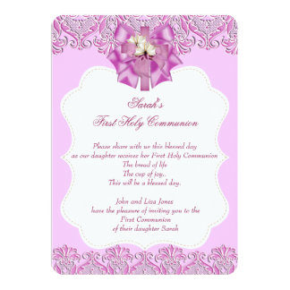First Holy Communion 1st Cross Girls Lace Pink 5x7 Paper Invitation Card