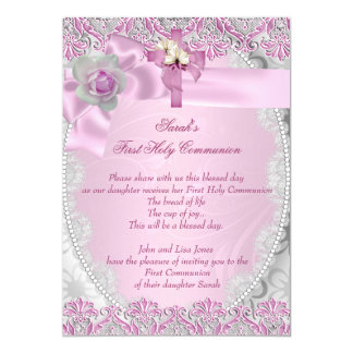 First Holy Communion 1st Cross Girls Pink Lace 5x7 Paper Invitation Card