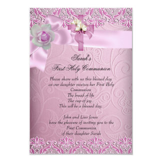 First Holy Communion 1st Cross Girls Pretty Pink 3.5x5 Paper Invitation Card
