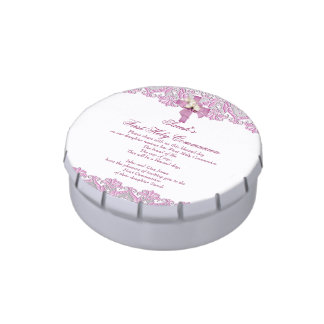 First Holy Communion 1st Cross Girls White Favor Jelly Belly Tins