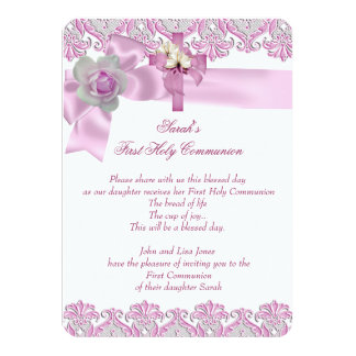 First Holy Communion 1st Cross Girls White Pink 2 4.5x6.25 Paper Invitation Card