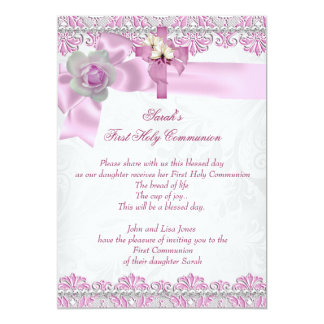 First Holy Communion 1st Cross Girls White Pink 2 5x7 Paper Invitation Card