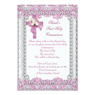 First Holy Communion 1st Cross Girls White Pink 3.5x5 Paper Invitation Card