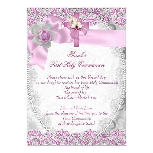 First Holy Communion 1st Cross Girls White Pink 3 Custom Invitation