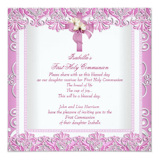 First Holy Communion 1st Cross Girls White Pink 5 5.25x5.25 Square Paper Invitation Card