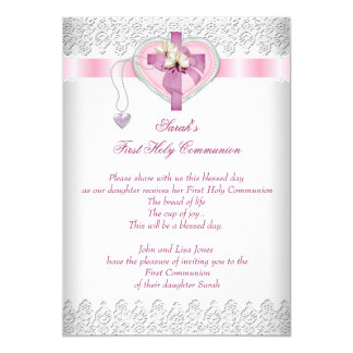First Holy Communion 1st Cross Girls White Pink 5x7 Paper Invitation Card