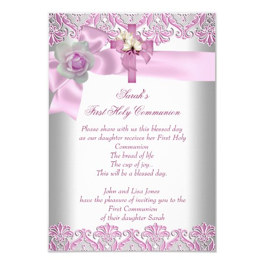 Pink First Communion Invitations Announcements – First Communion Invitation Cards