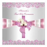 First Holy Communion 1st Cross Girls White Pink Custom Announcements