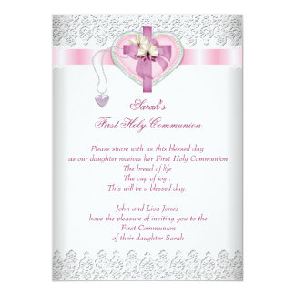 "First Holy Communion 1st Cross Girls White Pink 5"" X 7"" Invitation Card"