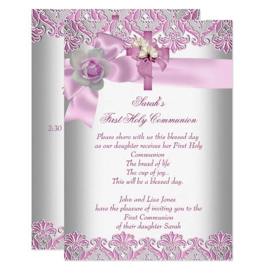 First Holy Communion 1st Cross Girls White Pink Invitation Zazzle Com