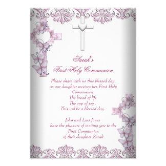 First Holy Communion 1st Cross Girls White Pink Custom Invite