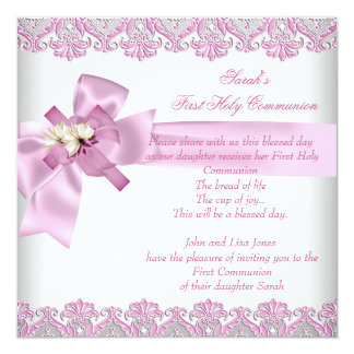 First Holy Communion 1st Cross Girls White Pink 5.25x5.25 Square Paper Invitation Card