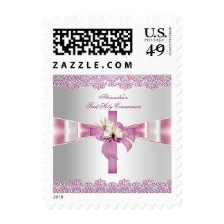 First Holy Communion 1st Cross Girls White Pink Postage