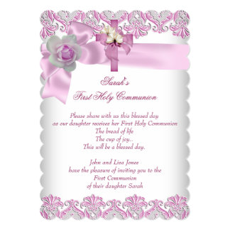 First Holy Communion 1st Cross Girls White Pink S 5x7 Paper Invitation Card