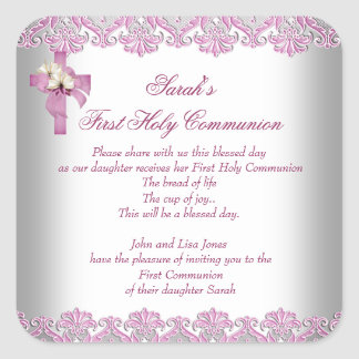 First Holy Communion 1st Cross Girls White Pink Square Sticker