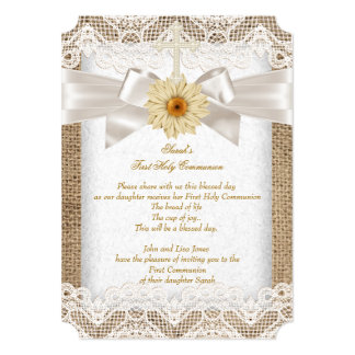 First Holy Communion 1st Girls Cross Burlap Lace 5x7 Paper Invitation Card