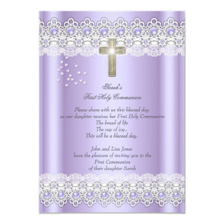 First Holy Communion 1st Girls Cross Lavender Gold 4.5x6.25 Paper Invitation Card