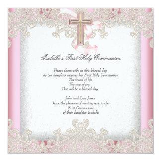 First Holy Communion 1st Girls Cross Pink 7 Card
