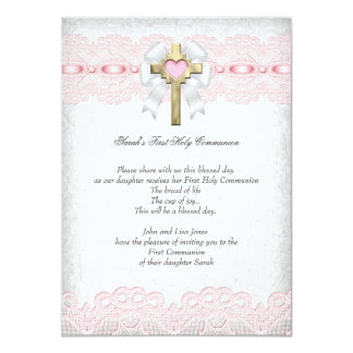 First Holy Communion 1st Girls Cross Pink 9 4.5x6.25 Paper Invitation Card