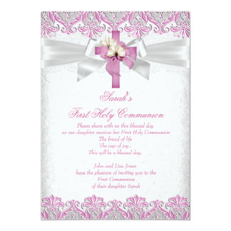 First Holy Communion 1st Girls Cross Pink Lace 2 5x7 Paper Invitation Card