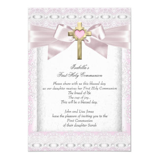 First Holy Communion 1st Girls Cross Pink Lace 3 5x7 Paper Invitation Card