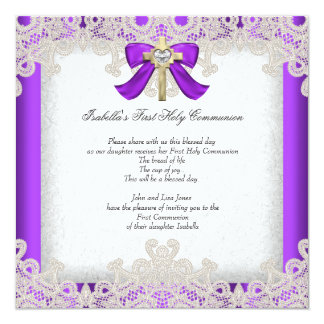 First Holy Communion 1st Girls Cross Purple 5.25x5.25 Square Paper Invitation Card